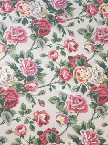Vintage 1940's Barkcloth Era Broadcloth Pink Roses Cotton Fabric 36 x 37