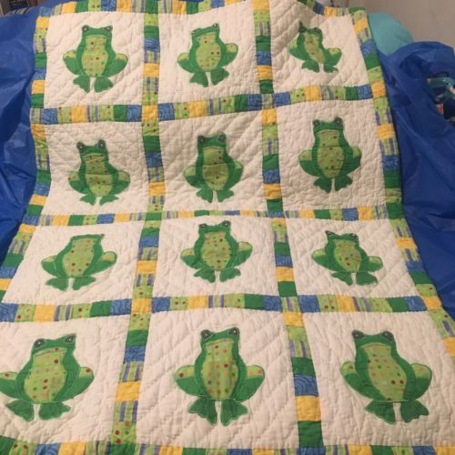 Green Yellow Blue White Infant Baby Crib Blanket Freddie Frog Quilt Dona Sharp