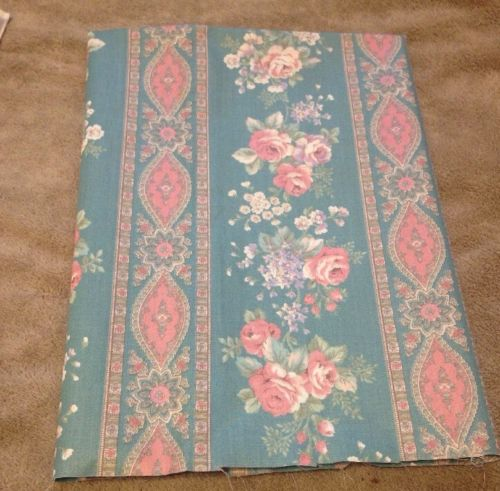 Vintage Cotten Poly Blend Type Fabric Pink Floral New  42 X 48