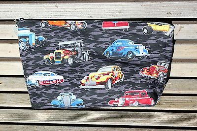 Hot Rod Car Cruising Fabric Vinyl lined bag, lunch, cosmetics, pencil, essential
