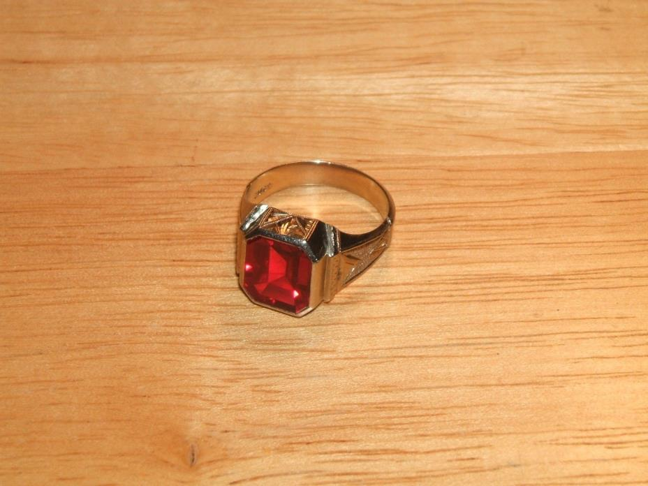 10K WHITE GOLD RED SAPPHIRE RING NO SCRAP 7.4 GRAMS SIZE 10.5 MENS