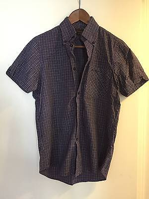 Ben Sherman Mens Purple Gingham Button Down Shirt Small sz 1 sm mod Fred Perry