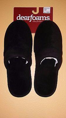 Men's Dearfoams Black Scuff Slippers - Men's Size Medium (9-10)