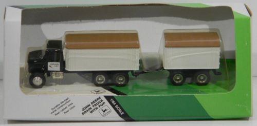 1/64 John Deere grain truck w/ pup trailer by Ertl, older, hard to find NIB