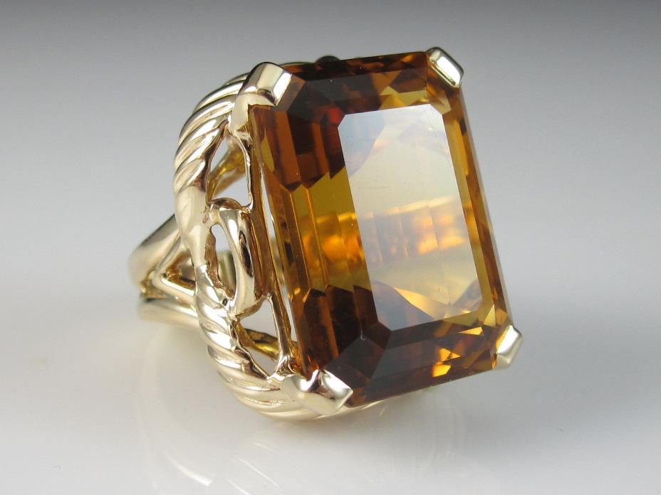 14K 22.24ct Emerald Cut Citrine Yellow Gold Fine Jewelry Estate 13.3gr Size 6