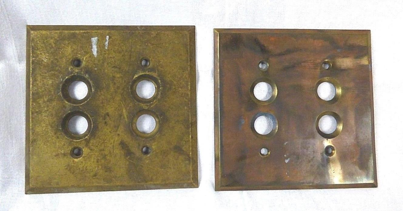 2 Vintage Brass 4 Button Switch Plates