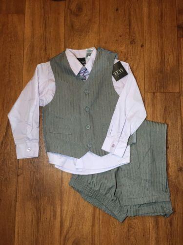 Boys Gray Purple Jacket Dress Shirt Vest Set - wedding Church Outfit- Sz 6