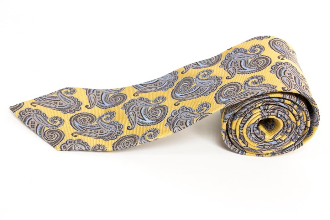 Jos A Bank Gold with Blue Paisley Mens Silk Neck Tie