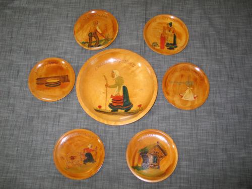 7pc set ANTIQUE Vtg Norway Scandinavian Folk Art Wooden Bowl & 6 Plates-Rhyme