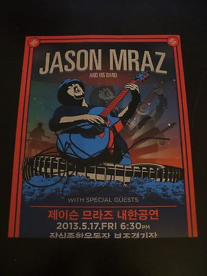 Jason Mraz Extremely Rare In Person Hand Signed 8x10 Korea Poster Photo With COA