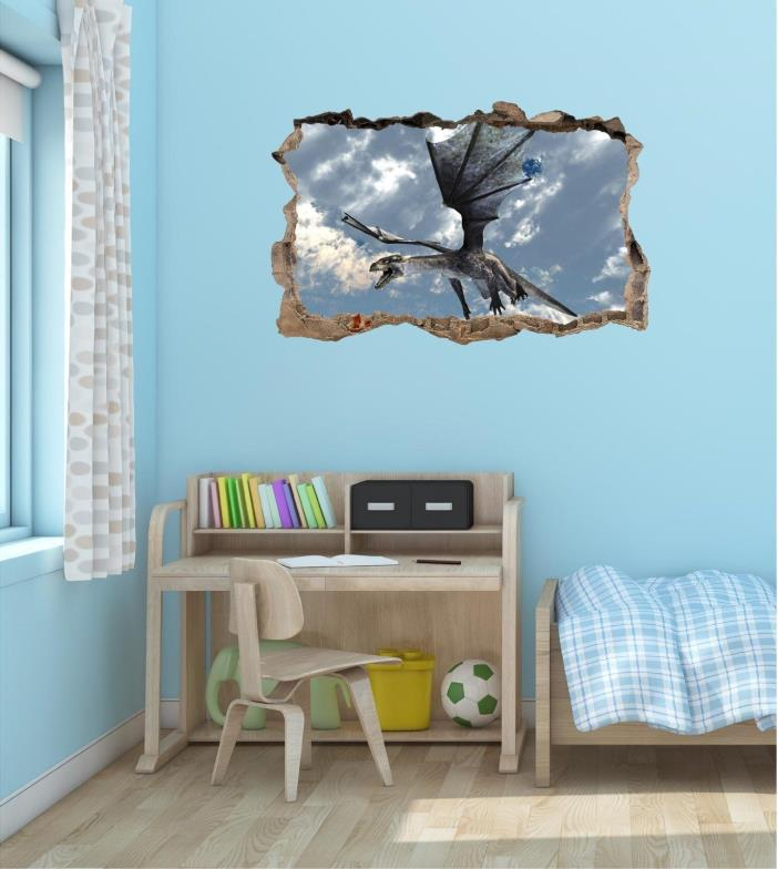 NEW Hole in the Wall DRAGON #3 Wall Decal Kids Sticker Room Decor Art Graphic