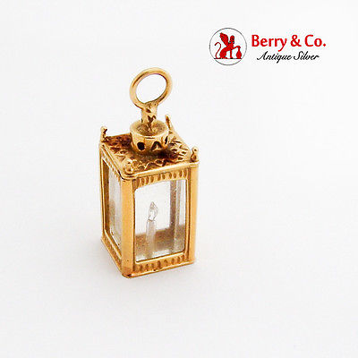Vintage Large Figural Lantern Charm Pendant Diamond Flame 18K Yellow Gold