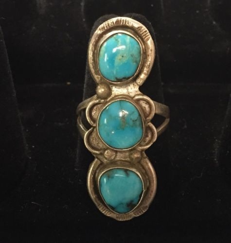 Very Vintage Stop Light Turquoise Ring Native American Size 9.25