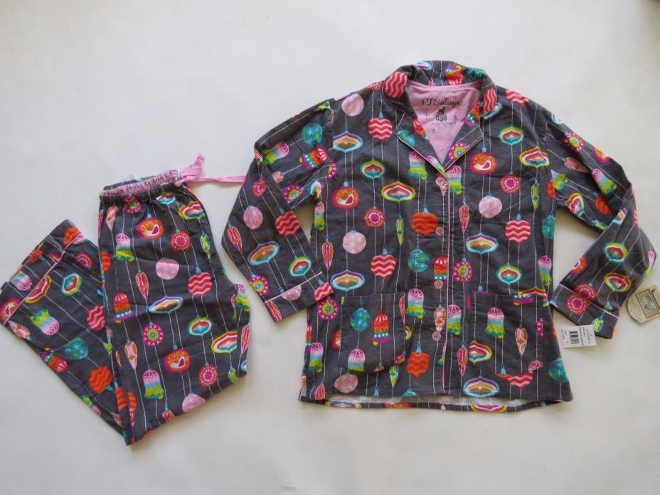 PJ Salvage 100% Cotton Ornament Holiday Pajama gray Pants Top Blouse Set S