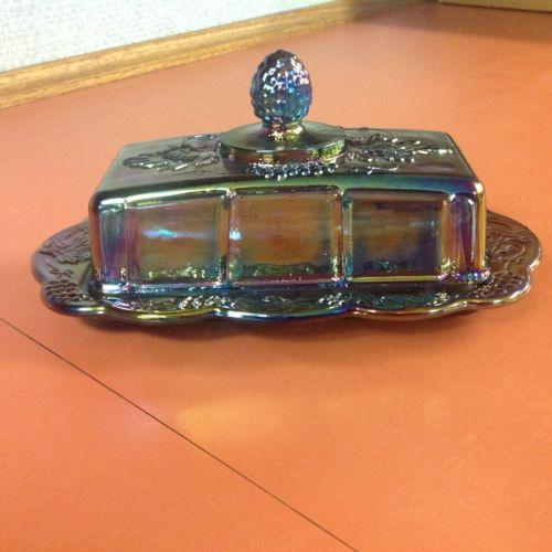 Blue Carnival Glass Butter Dish Harvest Grape Design