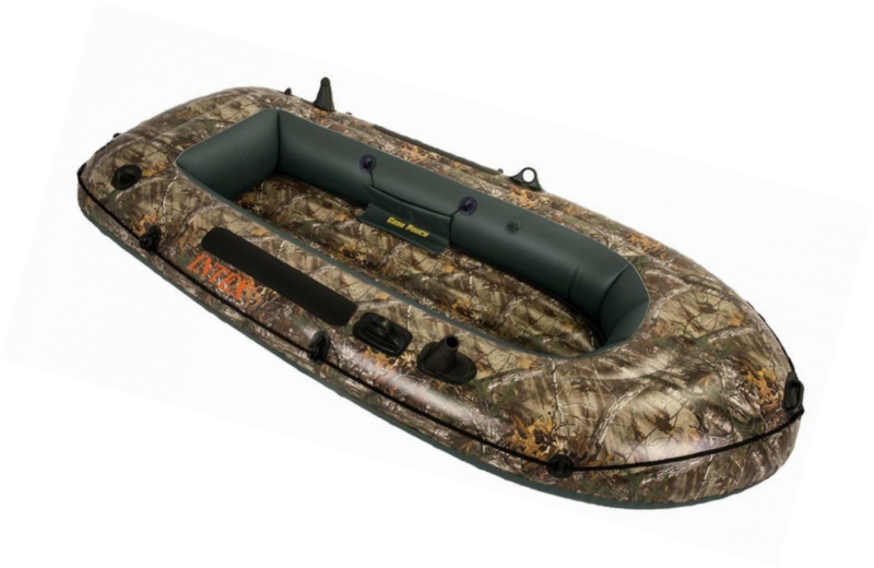 Inflatable Boat Fishing Raft Realtree Camo Seahawk Two Person Auxiliary Chamber