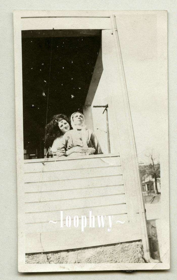 Spots Like Stars Above Woman Embracing Older, Vacant Stare Woman, Vtg Old PHOTO