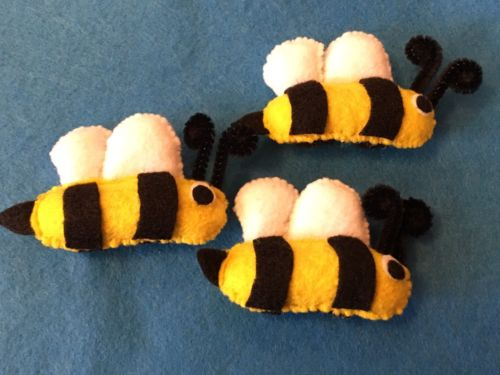 HANDCRAFTED 3 PK BUMBLE BEE CAT TOYS W/CATNIP