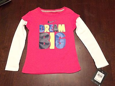 NIKE TODDLER GIRLS' SHIRT, COLOR PINK, SIZE 4T, NWT.