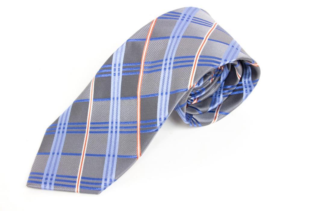 Joseph Abboud Silver and Blue Plaid Check Mens Silk Neck Tie