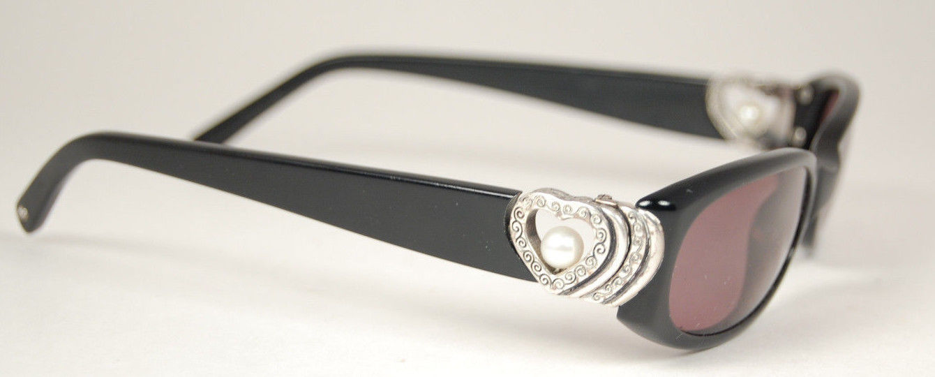 Brighton sorority row small oval black sunglasses heart & pearl accents
