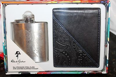 Robert Graham Leather Wallet and Liquor Flask Silver  Set Paisley NEW $148