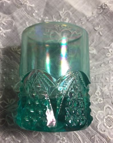 Vintage Aqua Green Carnival Art Glass  Button & Arches Toothpick Holder