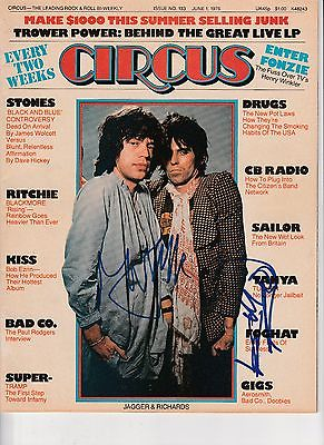RARE MICK JAGGER KEITH RICHARDS DUAL SIGNED CIRCUS MAG ROLLING STONES PROOF JSA