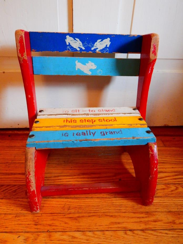 Vintage Child's Wood Flip STEP STOOL / CHAIR Nursery Primary Colors
