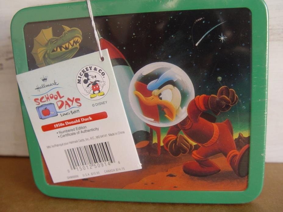 HALLMARK METAL COLLECTIBLE LUNCH BOX OLD DONALD DUCK NEW SEALED
