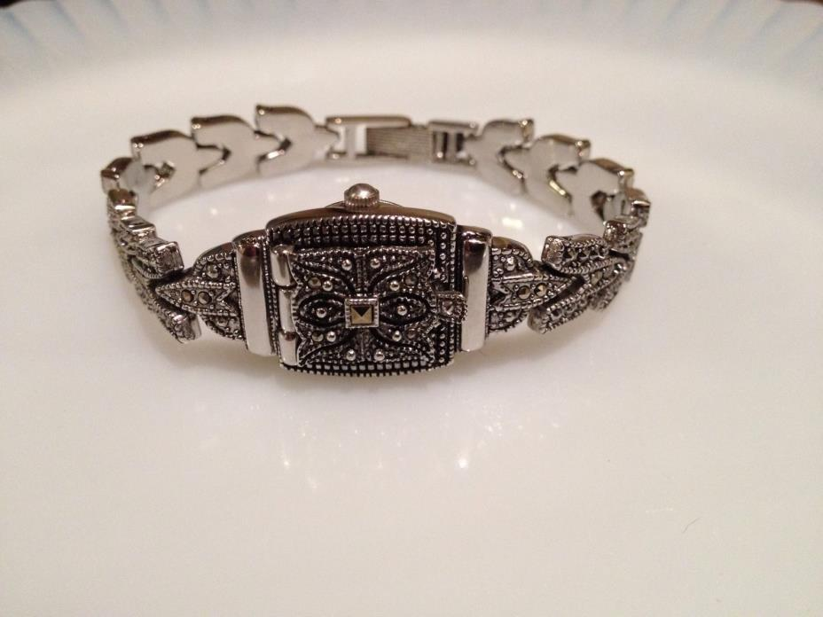 Lee Sands Watch MOP Face Peek A Boo Marcasite Band