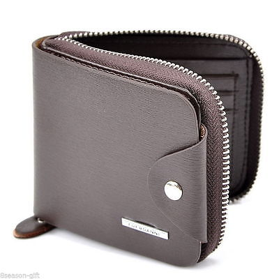 Brown Wallet Bifold Zipper ID Credit Card Holder Leather Men Women Unisex