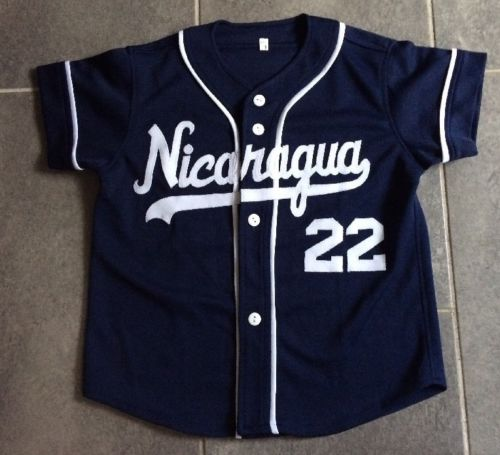 Youth Nicaragua Baseball Jersey Size: 8 Navy Blue