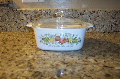CORNINGWARE 1 1/2 QUART CASSEROLE DISH WITH GLASS LID SPICE OF LIFE PATTERN
