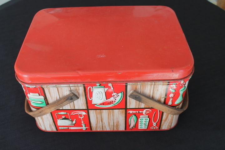 vintage brown red green tin metal picnic basket wooden handles