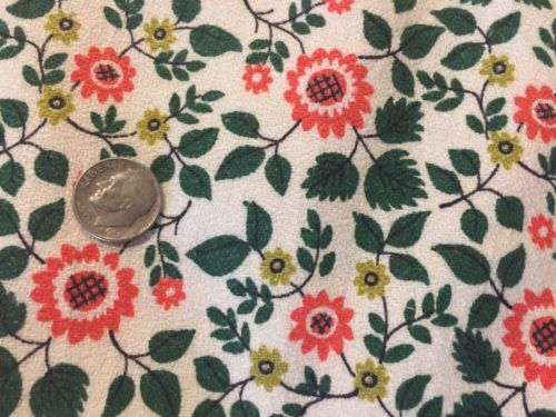 9 Yds Vintage MCM 1950s Saison Happily Married Fabric Vat Print Textured Floral
