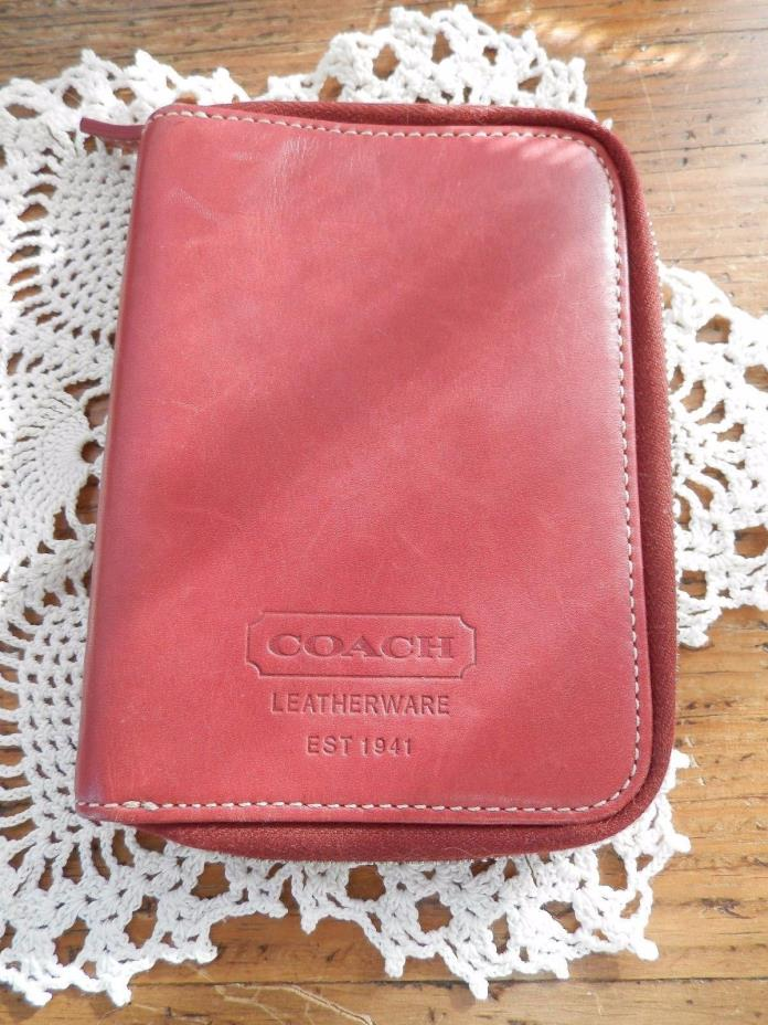 Coach red leather palm pilot, phone, travel case