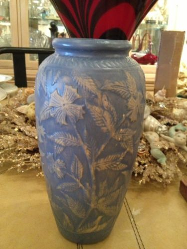 Old Pottery Blue Vase Beautiful Piece 9.5 Inches Awesome Design 1940S
