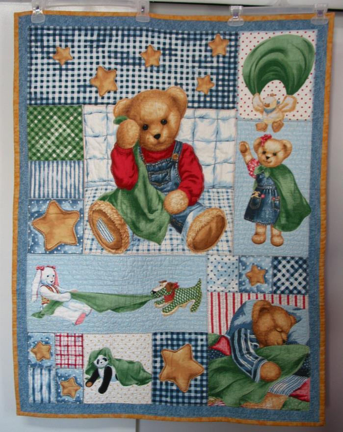 Hand Made Crib/Todler Blanket/  Quilt Teddy Bear,Custome quilted, 41.5