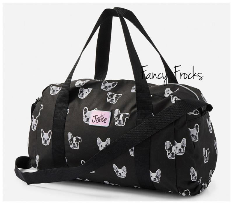 JUSTICE Girls Terrier Puppy Duffle Bag, NEW   Tote Boston Frenchie