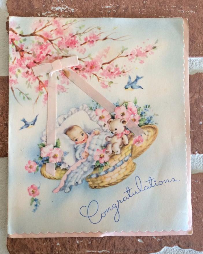Vintage Baby in Basket on Tree Branch Greeting Card