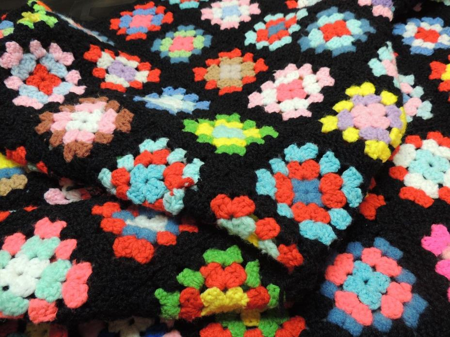 Hand Made Granny Square Afghan Throw Sofa Blanket Black Multi Colors 72x48