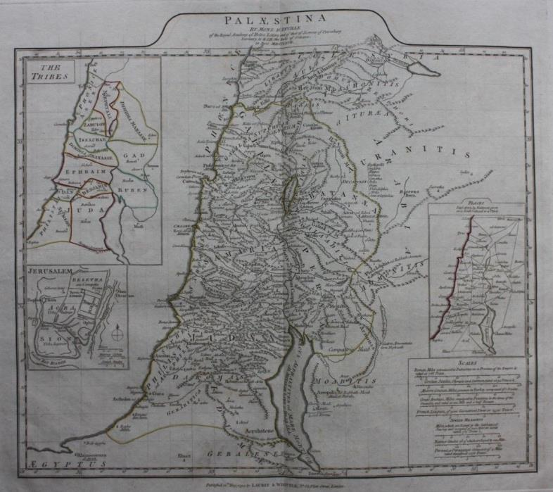 Original antique map PALESTINE, 'PALAESTINA', TRIBES, JERUSLAEM, D'Anville, 1794