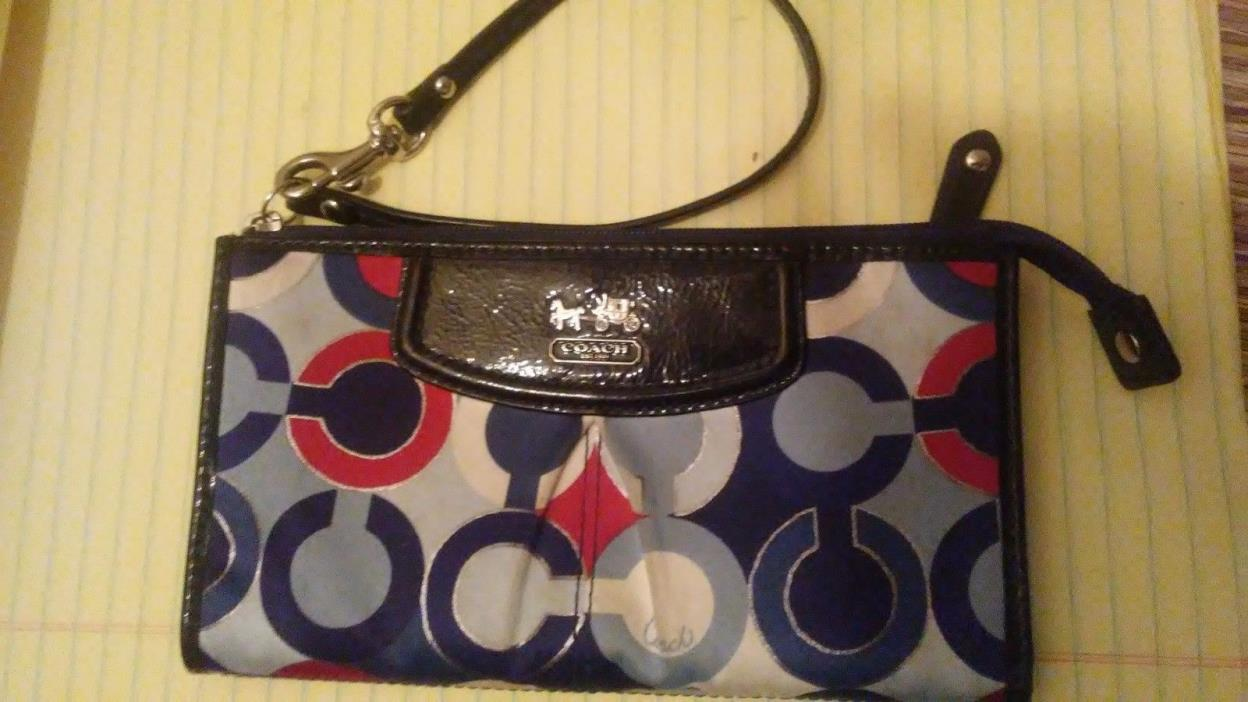Coach Clutch Purse Red, Blue White, Grey Used