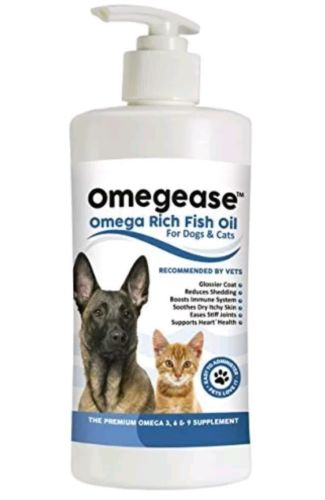 16oz Omegease Natural Omega Rich Fish Oil For Dogs & Cats Skin Coat Joint Health