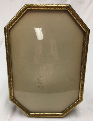 Vintage Convex Bubble Glass Gold Colored Hammered Metal Frame 13