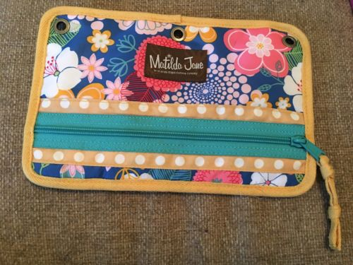 MATILDA JANE PENCIL POUCH 3 RING YELLOW TEAL BLUE PINK FLOWERS CUTE NICE