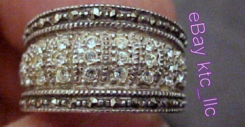 vintage JUDITH JACK sterling CZ's marcasites CIGAR BAND RING size 6 Designer Jj