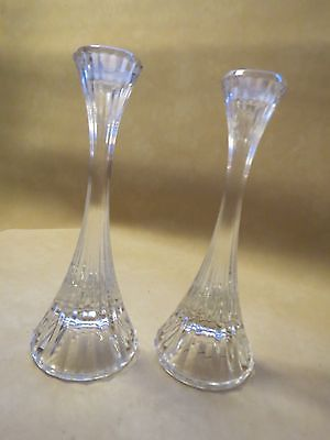 "Set of 3 Mikasa Park Lane Crystal Candle Holders Candle Sticks 8"" Tall MINT"