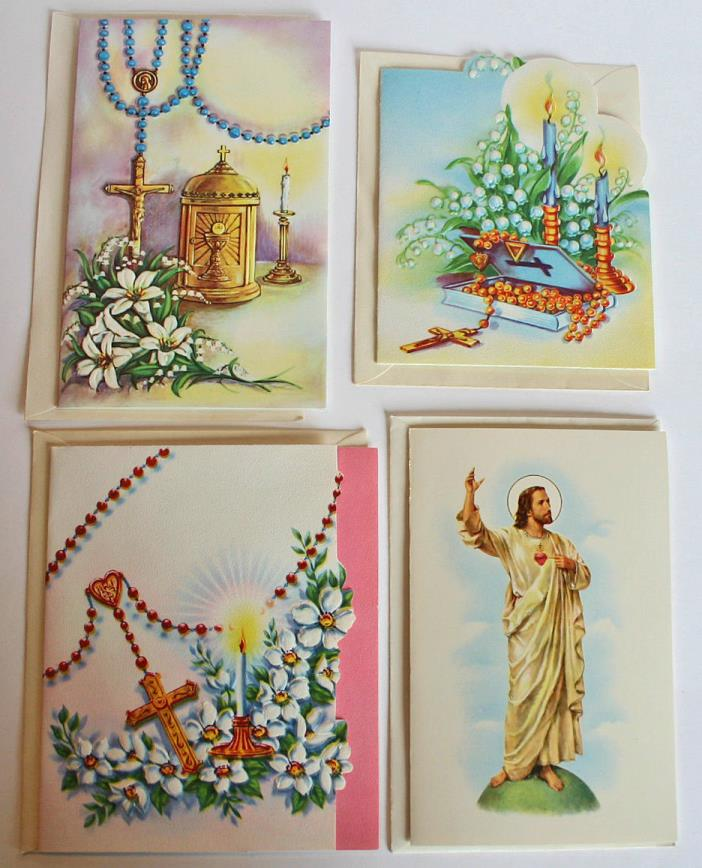 Lot of 4 Vintage UNUSED Easter Greeting Cards & Envelopes Religious Rosary Lilie